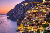 The Famous Village Of Positano On The Italian Amalfi Coast After Sunset poster