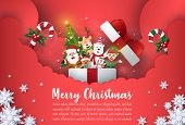 Origami Paper Art Of Christmas Postcard Banner Santa Claus And Cute Cartoon Character In Gift Box, M poster