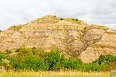 Badlands Hill On A Cloudy Day
