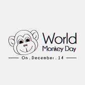 World Monkey Day Typography With Monkey Face Line Art Vector Cartoon poster
