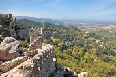 The picturesque ruins of the Moorish fortress in the Portuguese seaside resort of Sintra