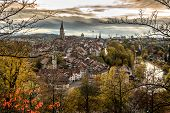 Panoramic View Of The Bern Old Town With The Aare River Flowing Around The Town At Sunset In Bern, S poster