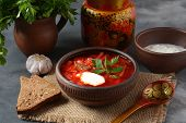 Traditional Ukrainian Russian Borscht . Bowl Of Red Beet Root Soup Borsch With White Cream . Beet Ro poster