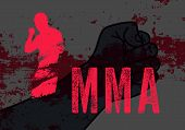 Mma Typographical Vintage Grunge Style Poster With Hand Drawn Silhouette Of Mixed Martial Arts Fight poster