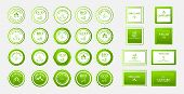 Set Of Eco Green Icons. Natural Ecological Label. Ecology Bio Sticker Design. Organic Logo Template poster
