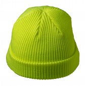 Docker Knitted Lime Hat Isolated On White Background. Fashionable Rapper Hat. Hat Fisherman Back Vie poster