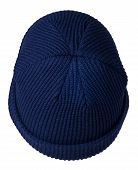 Docker Knitted Dark Blue Hat Isolated On White Background. Fashionable Rapper Hat. Hat Fisherman Top poster