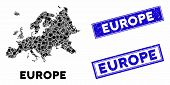 Mosaic Europe Map And Rectangular Seal Stamps. Flat Vector Europe Map Mosaic Of Scattered Rotated Re poster