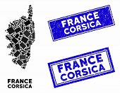 Mosaic Corsica France Island Map And Rectangular Stamps. Flat Vector Corsica France Island Map Mosai poster