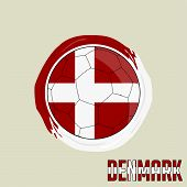 Flag Of Denmark, Football Championship Banner, Vector Illustration Of Abstract Soccer Ball With Denm poster