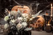 Halloween, Decor Elements And Attributes Of The Holiday .autumn Holidays, Decor And Decoration. poster