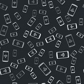 Grey Smartphone With Free Wi-fi Wireless Connection Icon Isolated Seamless Pattern On Black Backgrou poster