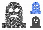 Sad Tomb Mosaic Of Round Dots In Different Sizes And Color Tinges, Based On Sad Tomb Icon. Vector Ro poster