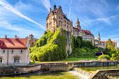 Sigmaringen Castle On Rock, Germany. This Famous Gothic Castle Is Landmark Of Baden-wurttemberg. Sce poster