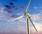 image of wind-turbine  - Illustration of a wind turbine with a setting sun in the background - JPG