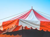 Close Up Of Red Big Top Carnival Tents Or Circus Striped Tent. Vintage Tent For Entertainment Funfai poster