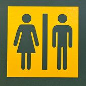 Restroom sign symbol for men and women