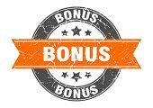 Bonus Round Stamp With Orange Ribbon. Bonus poster