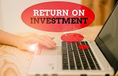 Handwriting Text Return On Investment. Concept Meaning Ratio Between The Net Profit And Cost Investe poster