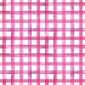 Watercolor Stripe Plaid Seamless Pattern. Pink Stripes On White Background. Watercolour Hand Drawn S poster