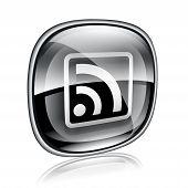 Wi-fi Icon Black Glass On White Background