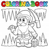 Coloring book cartoon dwarf miner - vector illustration.