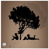 stock photo of reading book  - Vector background with children read a book under tree - JPG