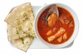 Seafood Soup With Tomatoes With Focaccia