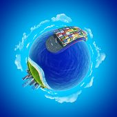 Mini planet concept. Impressive big cargo ship heading to the port rounding the globe. Transportatio