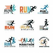 Running Logo. Marathon Club Badges Sport Symbols Shoe And Legs Jumping Running People Vector Collect poster