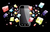 stock photo of mobile-phone  - phone application icons splash out of phone on black background - JPG