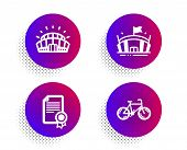 Sports Stadium, Arena And Certificate Icons Simple Set. Halftone Dots Button. Bicycle Sign. Champion poster
