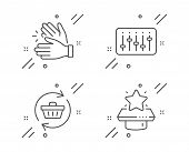Dj Controller, Clapping Hands And Refresh Cart Line Icons Set. Winner Podium Sign. Musical Device, C poster