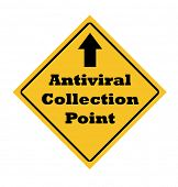 Antiviral collection point sign isolated on white background.