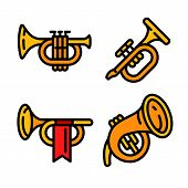 Trumpet Icons Set. Outline Set Of Trumpet Vector Icons For Web Design Isolated On White Background poster