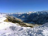 Alpine landscape looking down to Crans Montana ski resort, Valais, Switzerland.