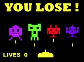 Illustration of you lose space invaders retro game over, isolated on black background.