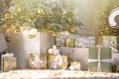 Image Of Luxury New Year Gifts, Different Present Boxes Under Christmas Tree In Holiday Eve. Home De poster