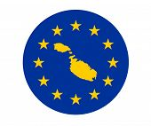 Map of Malta on European Union flag with yellow stars.