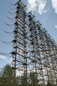 Large Antenna Field. Soviet Radar System Duga At Chernobyl Nuclear Power Plant. Abm Missile Defense. poster