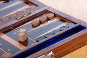 picture of boardgame  - Wooden Backgammon boardgame with dice - JPG
