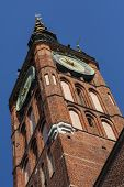 Clock Tower Of Old Historic Brick Town Hall In Gdansk Old Town, Poland poster