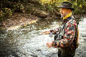 Fly fisherman working the line and the fishing rod while fly fishing on a splendid mountain river fo poster