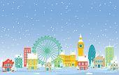Winter Snow In London City Cityscape Skyline Landmark Building Illustration poster