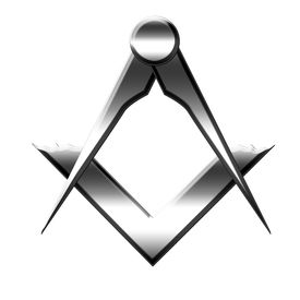 foto of freemasons  - silver Freemason symbol on a white background - JPG