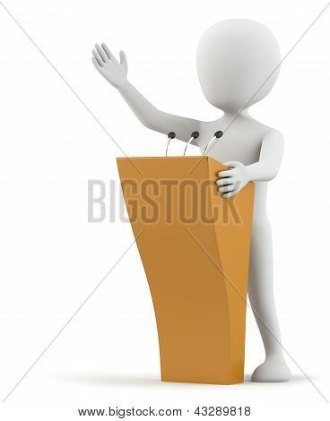 Picture or Photo of 3d small person speaks at the podium. 3D image. On a white background.