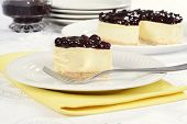 picture of cheesecake  - blueberry cheesecake on yellow napkin with a fork - JPG