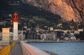 Lighthouse Of Menton On The French Riviera, Region Provence, Department Alpes Maritimes.