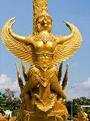 Golden wax sculpture at Tung Sri Muang park in Ubon Ratchathani province, Thailand