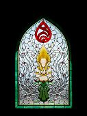 Thai Angel Stain Glass In Srinakarinthara Mahasandhikiri Pagoda On Mae Salong Hill, Chiang Rai, Thai
